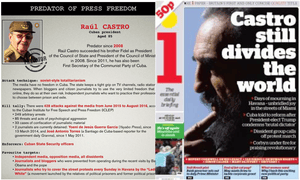 Raúl Castro, named as 'a press freedom predator', is an example of the division of opinion about the Castros' regime as registered in i's front page.
