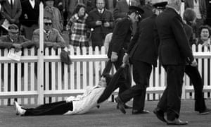 Protestor being dragged by police at 1971 Springboks game