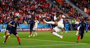 eru's Jefferson Farfan shoots at goal against France at the Ekaterinburg Arena. Kylian Mbappe's first-half strike helped France win 1-0.