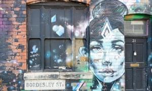 street art on a wall in Bordesley Street, Digbeth