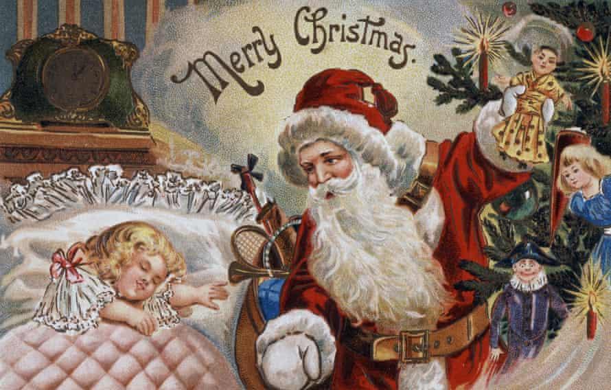 Marry Christmas. Santa on old Christmas card