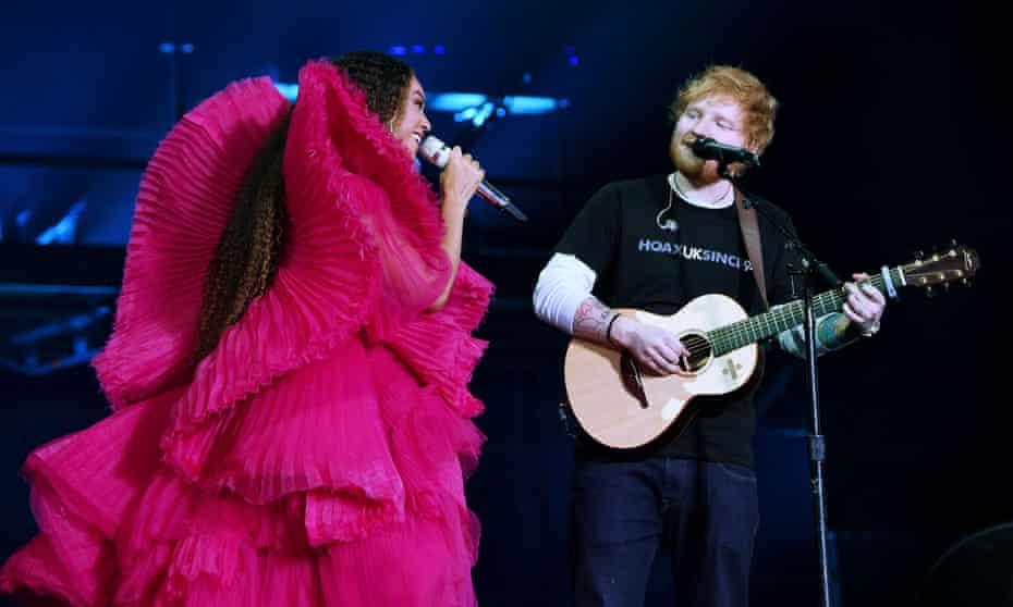 Beyoncé and Ed Sheeran perform at the Global Citizen festival: Mandela 100.