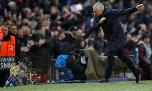José Mourinho lets loose on the touchline.