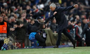 After Marouane Fellaini's late winner over Young Boys sealed a place in the Champions League last 16, Mourinho celebrated by throwing bottles