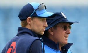 Joe Root chats to Trevor Bayliss during an England nets session before the second Test against Pakistan.