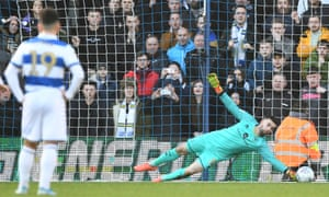 QPR keeper Liam Kelly saves a penalty from Patrick Bamford of Leeds United.