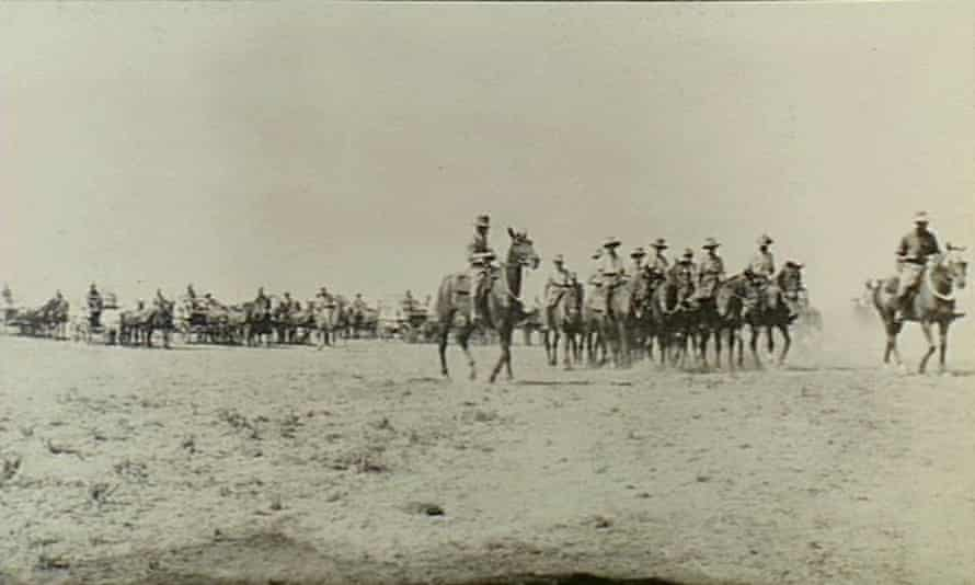 Surafend, Palestine. c. 1917. Members of the 5th Light Horse Field Ambulance on parade. (Donor I. Smith)