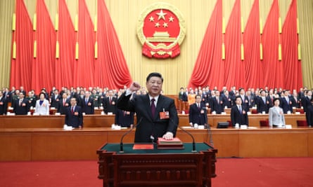 Xi Jinping takes a public oath of allegiance to the Constitution in the Great Hall of the People 13th National People's Congress, Beijing, China