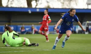 Fran Kirby scored early on and in stoppage time for Chelsea.