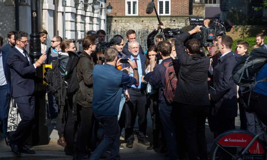 Jeremy Corbyn is pursued by journalists