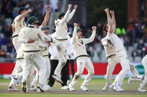 Australia celebrate the wicket of England's Craig Overton to win the match and retain the Ashes.