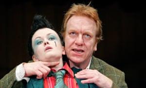 Gender-fluid: Sally Tatum as Viola and Clive Wood as Sir Toby Belch in Twelfth Night in 2005.