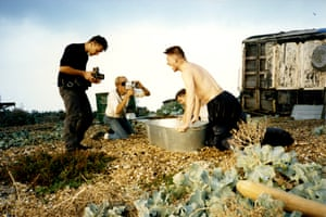 Bath time, Dungeness 1989, with Liam Daniel, Richard Heslop, Jody Graber and Philip MacDonald.