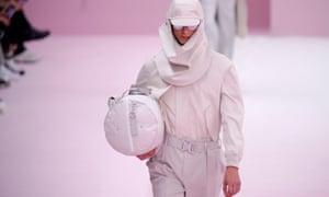 A model presents a creation by designer Kim Jones
