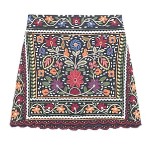 embroidered mini skirt red blue yellow black green orange