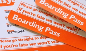 Easyjet airline flight boarding pass.
