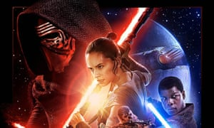 A detail of the theatrical poster of the new Star Wars film, The Force Awakens. A terminally ill fan has seen the movie two months before its release.
