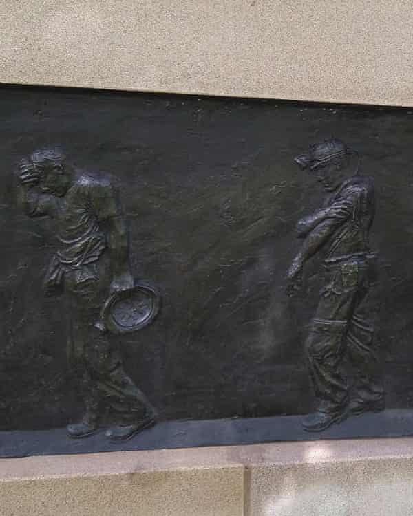 One of 25 plaques at the National Miners Monument by artist Andy de Comyn