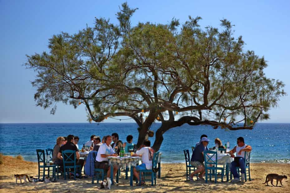 Paradiso taverna is a short walk from Plaka beaches), Naxos island, Cyclades, Greece