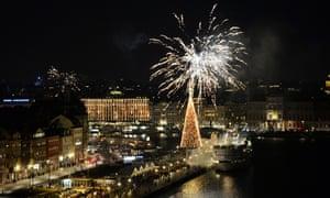 Fireworks over Stadshuskajen Quay, Stockholm