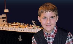 Brynjar Karl Birgisson with his Lego model of the Titanic.