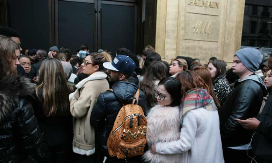 All about the moment ... outside H&M for the launch of the Balmain x H&M collection. Photograph: Martin Godwin/Guardian