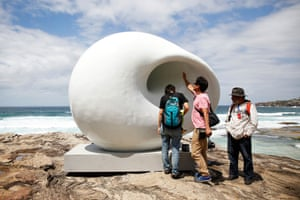 Acoustic Chamber by Arissara Reed and David Nurimba. The styrofoam and concrete creation resonates its own sound as well as echoing the ocean.