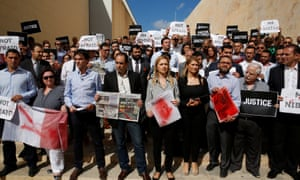 Journalists demand justice after the killing. Suspects were arrested, but there has not  yet been a trial.