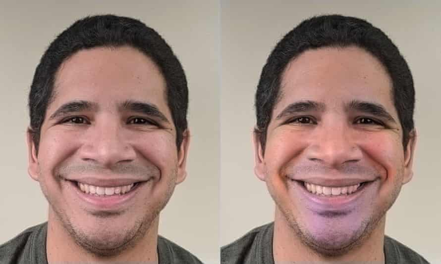 A man's face is shown smiling to represent happiness, both in an untouched photo and in a version with blood flow enhanced.