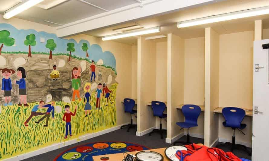 Isolation booths used in a primary school.