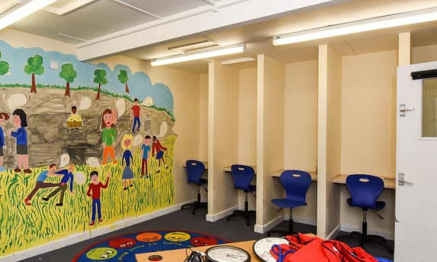 Isolation booths used in a primary school