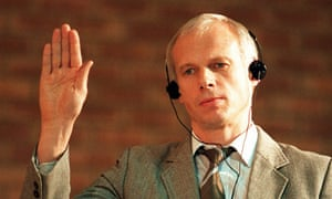 Convicted killer Janusz Walus is sworn in during a truth and reconciliation commission hearing in South Africa.