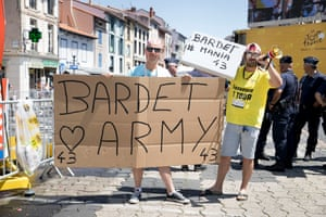 Romain Bardet fans seen at start of the stage 16 of the Tour in Le Puy-en-Velay