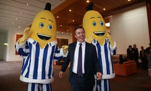 Mark Butler meets B1 and B2 at the ABC showcase in the mural hall of Parliament House.
