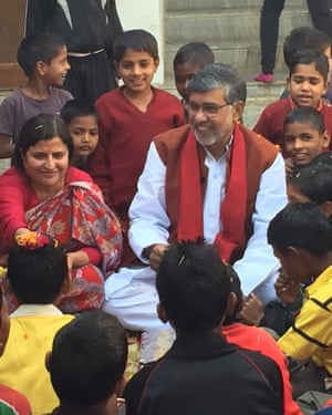 Kailash Satyarthi with his wife Shrimati Sumedha Kailash celebrating his birthday and giving boys at Bal Ashram, who do not know their birthdays, their first birthday celebration.