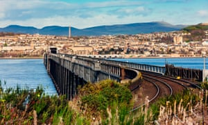 Tay Rail Bridge looking along its length towards the city of Dundee