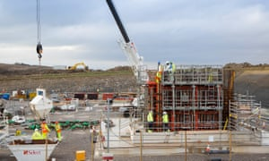 The concrete process trial pour at the Hinkley Point C site in January 2015.