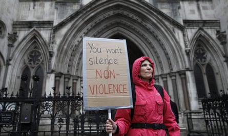 Extinction Rebellion supporter outside Royal Courts of Justice
