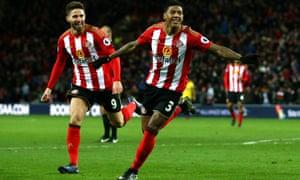Patrick van Aanholt celebrates scoring Sunderland's winning goal against Watford with Fabio Borini.