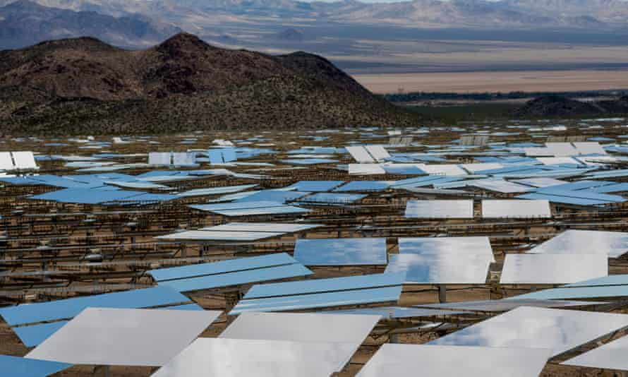 Heliostats at the Ivanpah Solar Electric Generating System in the Mojave Desert, Nevada. Google, worked with NRG and Bright Source to develop the 392-megawatt plant.