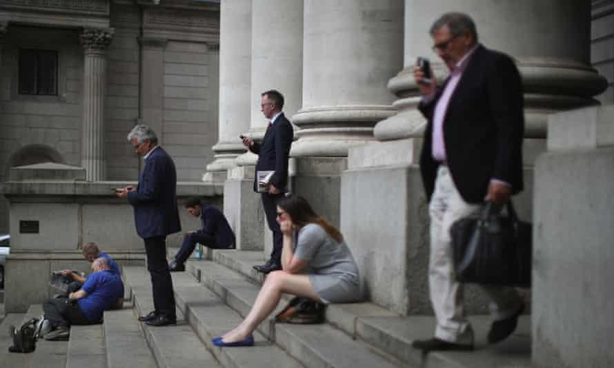 City workers take a break