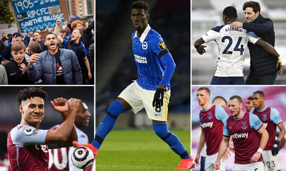 Super League protests at Stamford Bridge, Yves Bissouma of Brighton, Ryan Mason with Serge Aurier of Spurs, Vladimir Coufal of West Ham and Aston Villa's Ollie Watkins