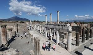 Main square of excavation at Pompeii