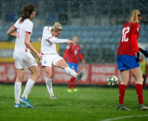 Millie Bright thumps a shot towards the Czech goal but is denied by a flying Barbora Votikopva.