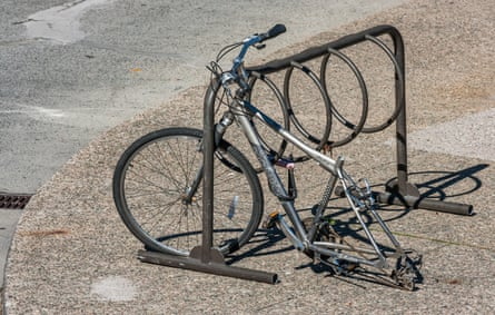 A bike without its rear wheel and seat in Ottawa, Ontario.