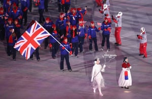 Lizzy Yarnold leads the Great Britain team.