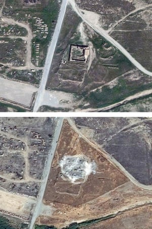 This combination of two satellite images provided by DigitalGlobe shows the site of the 1,400-year-old Christian monastery.