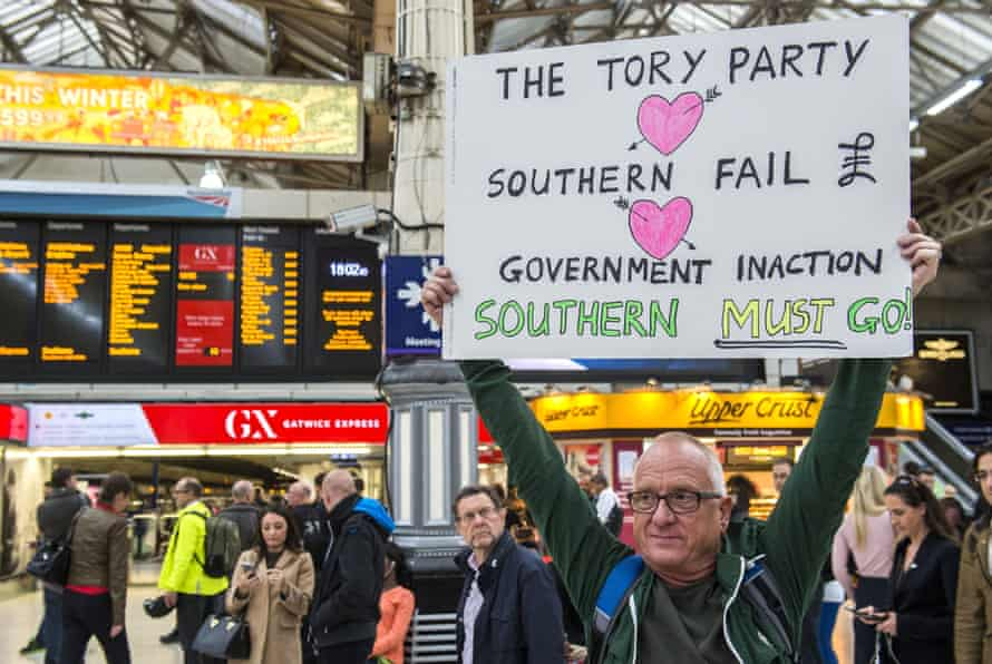 A protest against Southern rail at London's Victoria station on 29 September.