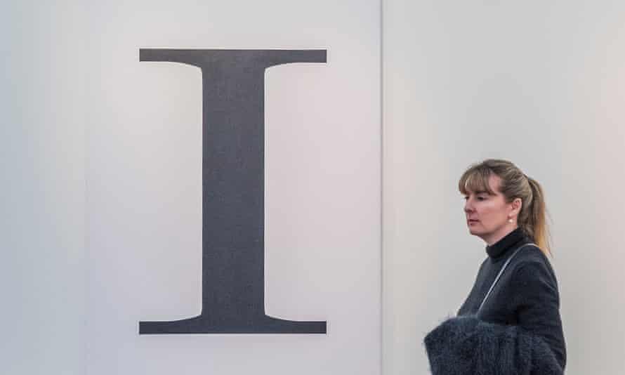Mark Wallinger's Self Portrait in Modern No 20 font at Frieze London in 2019.