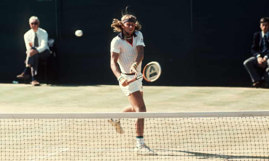 Bjorn Borg in action at Wimbledon in 1976. He won the tournament for the first time that year, the first of five in a row.